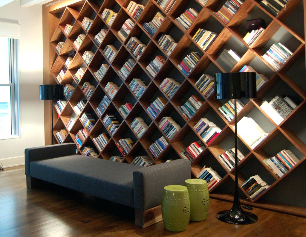 Awesome Home Office With Diagonal Shelving Also Comfy Sprinter Van In Home Library Shelving System (View 12 of 15)