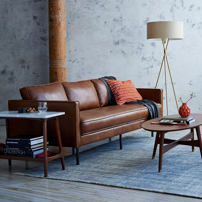 Axel Leather Sofa 89 West Elm With Regard To Aniline Leather Sofas (#6 of 15)