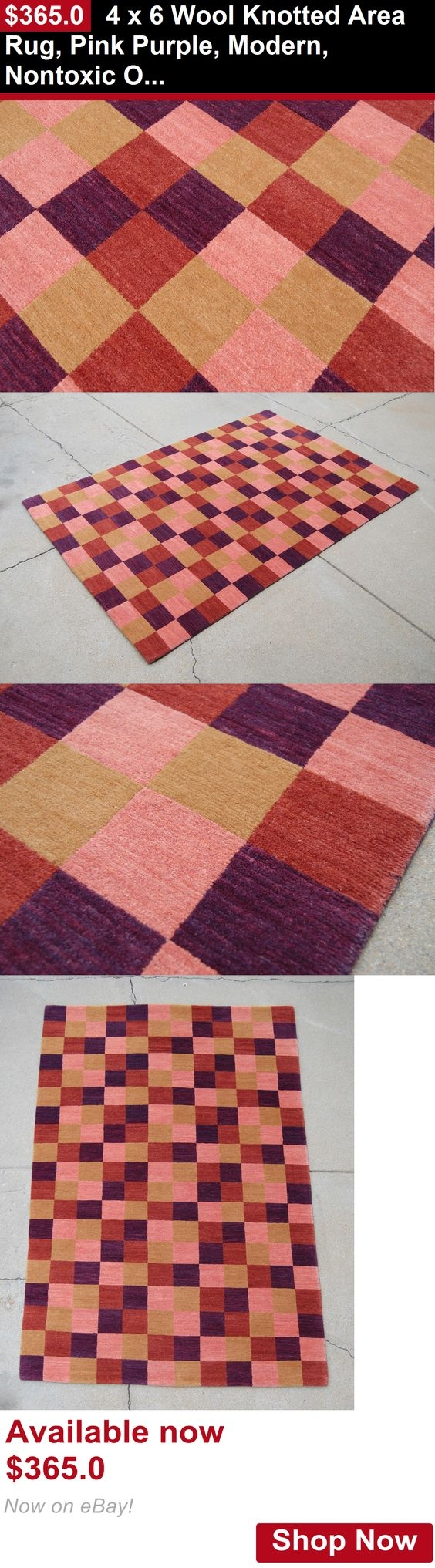 Ba Mats And Rugs 4 X 6 Wool Knotted Area Rug Pink Purple For Non Toxic Wool Area Rugs (#2 of 15)