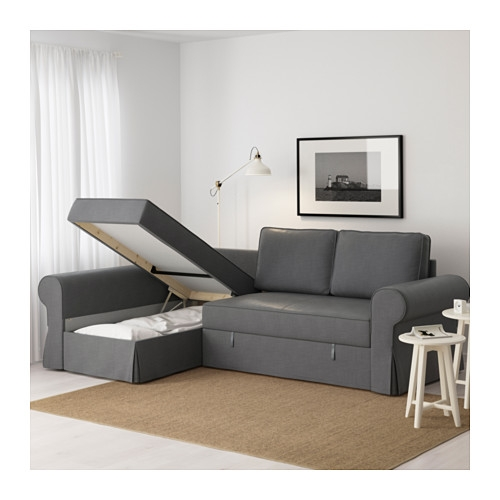 Backabro Sofa Bed With Chaise Longue Nordvalla Dark Grey Ikea Inside Sofas With Chaise Longue (#2 of 15)
