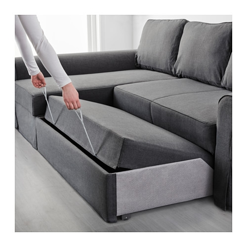 Backabro Sofa Bed With Chaise Longue Nordvalla Dark Grey Ikea Intended For IKEA Chaise Lounge Sofa (View 2 of 15)