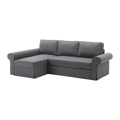 Backabro Sofa Bed With Chaise Longue Nordvalla Dark Grey Ikea Intended For IKEA Chaise Lounge Sofa (View 1 of 15)