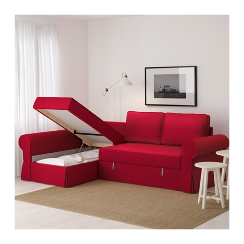 Backabro Sofa Bed With Chaise Longue Nordvalla Red Ikea For IKEA Chaise Lounge Sofa (View 3 of 15)