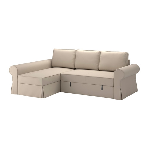 Backabro Sofa Bed With Chaise Longue Ramna Beige Ikea With Regard To IKEA Chaise Lounge Sofa (View 4 of 15)