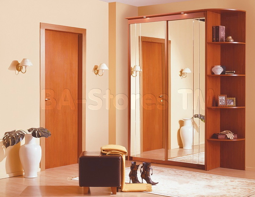Baikal Mirror Sliding Doors Wide Wardrobe With Corner Shelf Throughout Wardrobe With Shelves (#2 of 15)