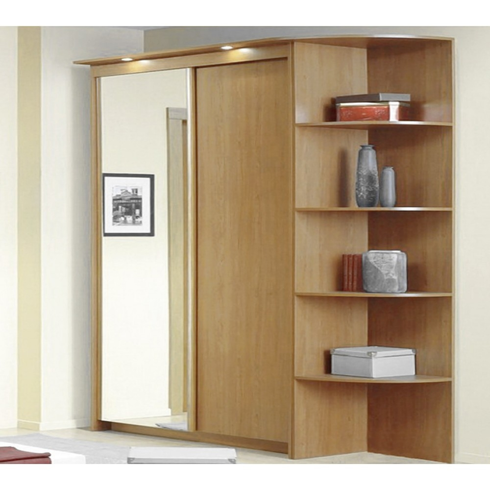 Baikal Solid And Mirror Sliding Doors Wide Wardrobe With Corner Intended For Wardrobes With Shelves (View 8 of 15)
