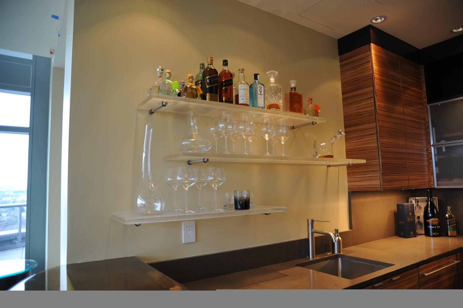 Bar Wall Decoration Ideas Roselawnlutheran For Floating Glass Shelves For Bar (View 2 of 15)