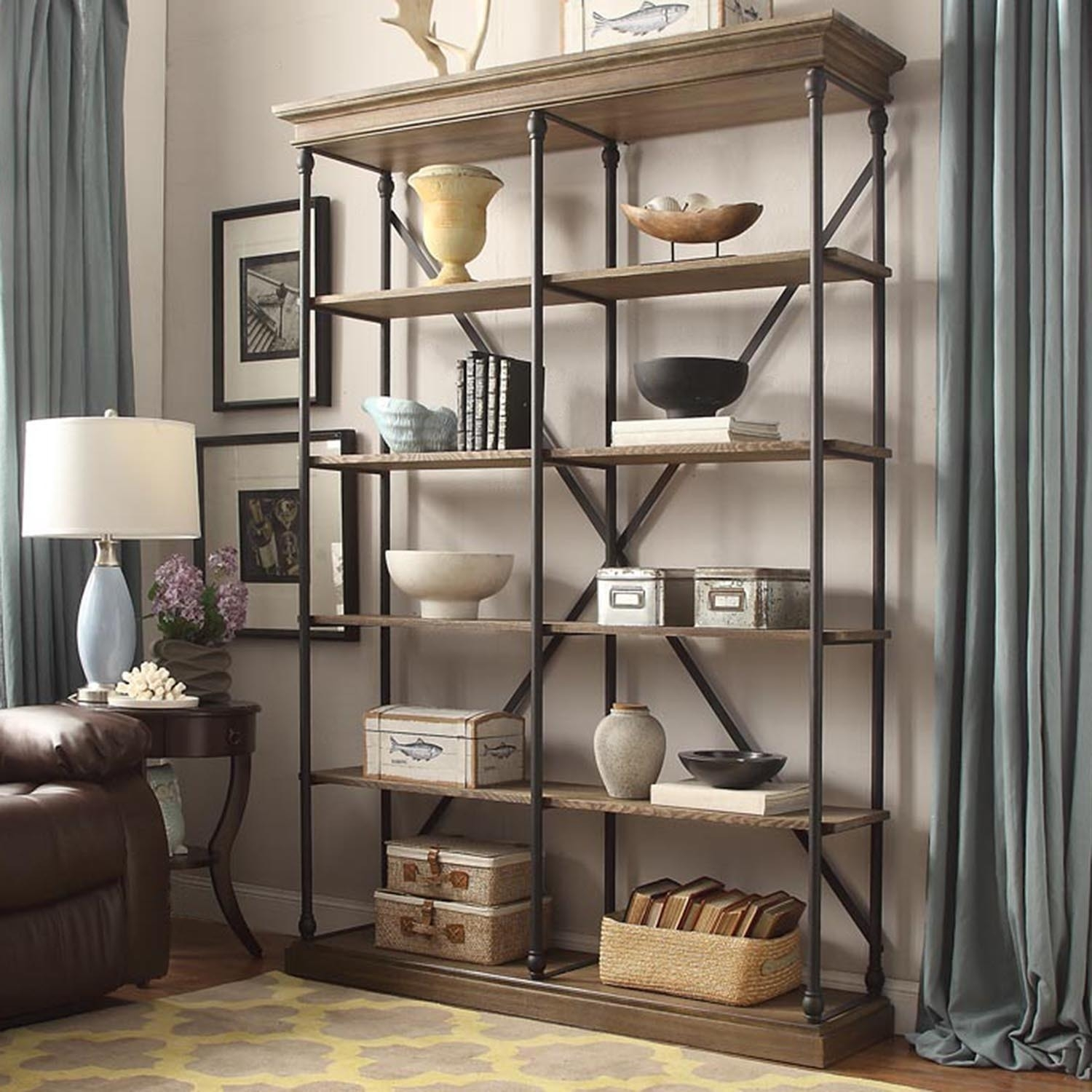 Barnstone Cornice Double Shelving Bookcase Inspire Q Artisan For Extra Large Bookcase (View 2 of 15)