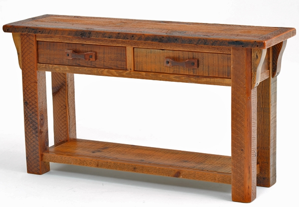 Barnwood Sofa Table Reclaimed Barn Wood Sofa Table Aged With Sofa Table Drawers (#6 of 15)