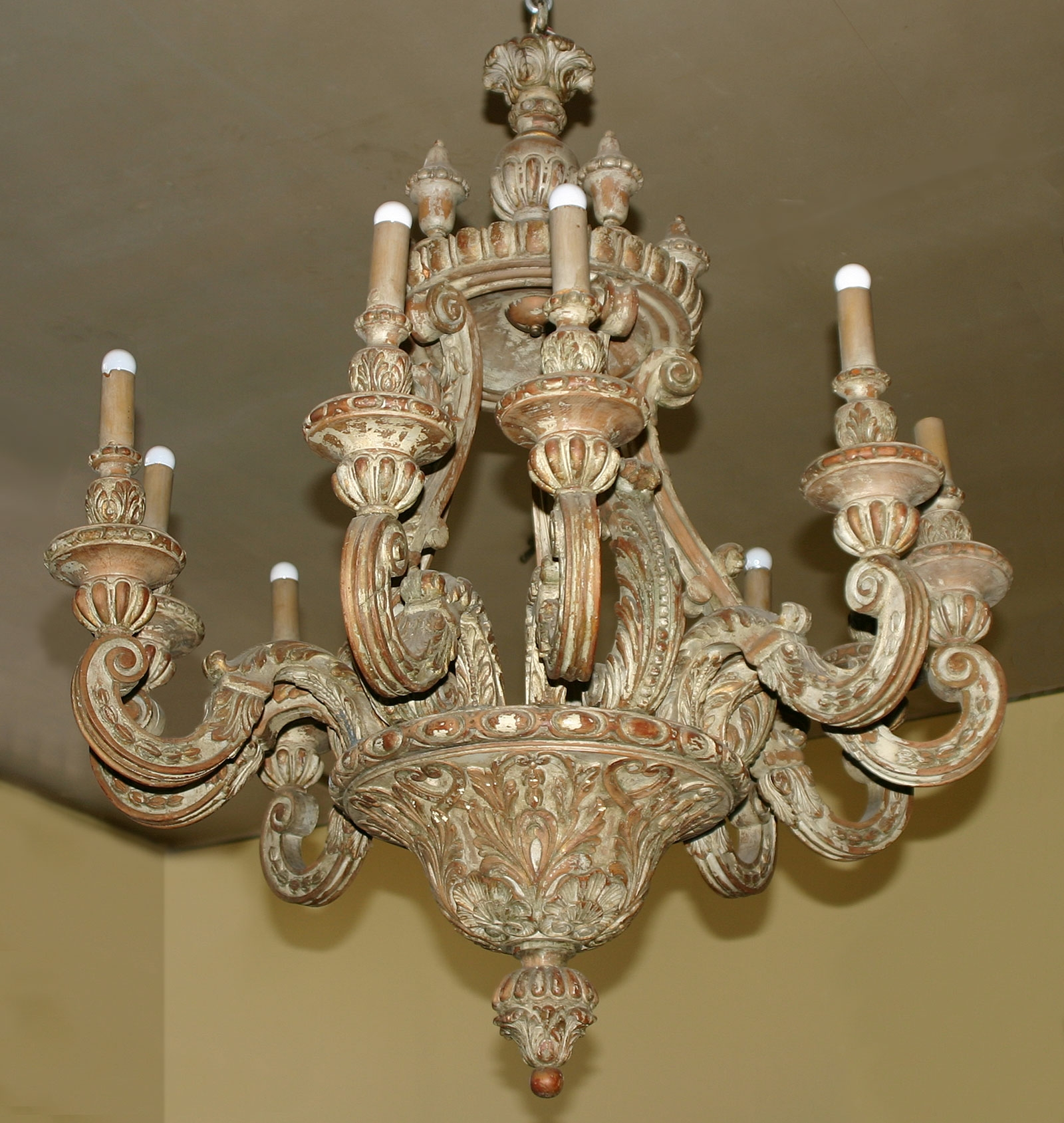 Baroque Style Painted Pine Ten Light Chandelier With Regard To Baroque Chandelier (#6 of 12)