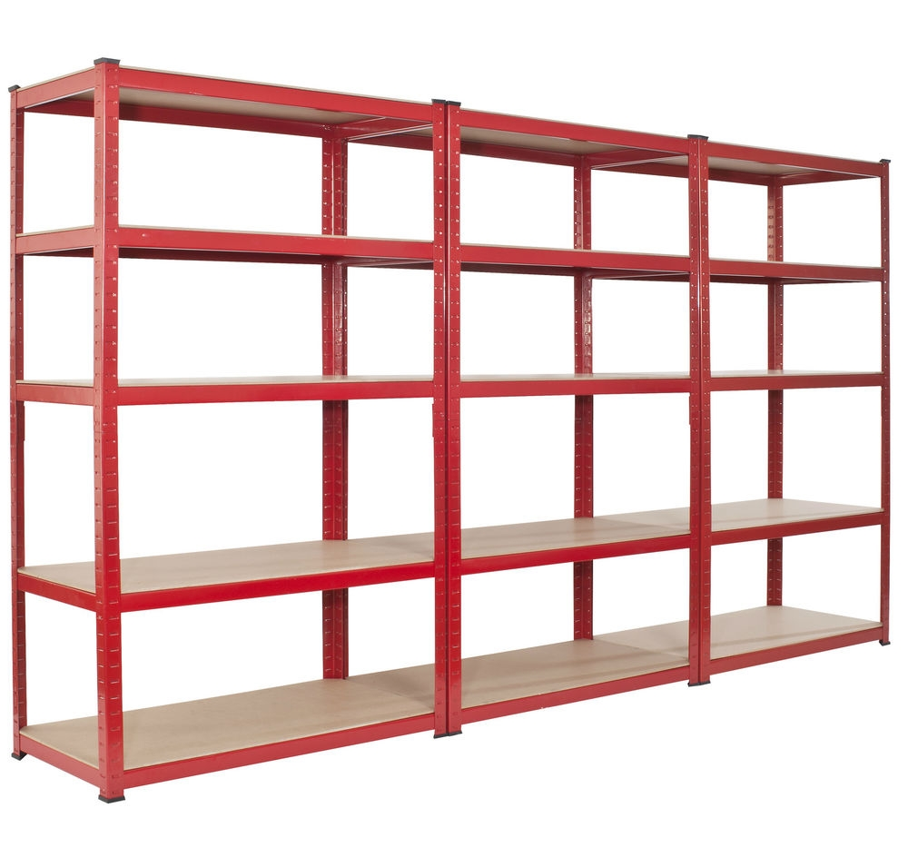 Basement Modern Free Standing Red Wooden Multiple Shelves Storage Intended For Free Standing Shelving Units Wood (View 13 of 15)