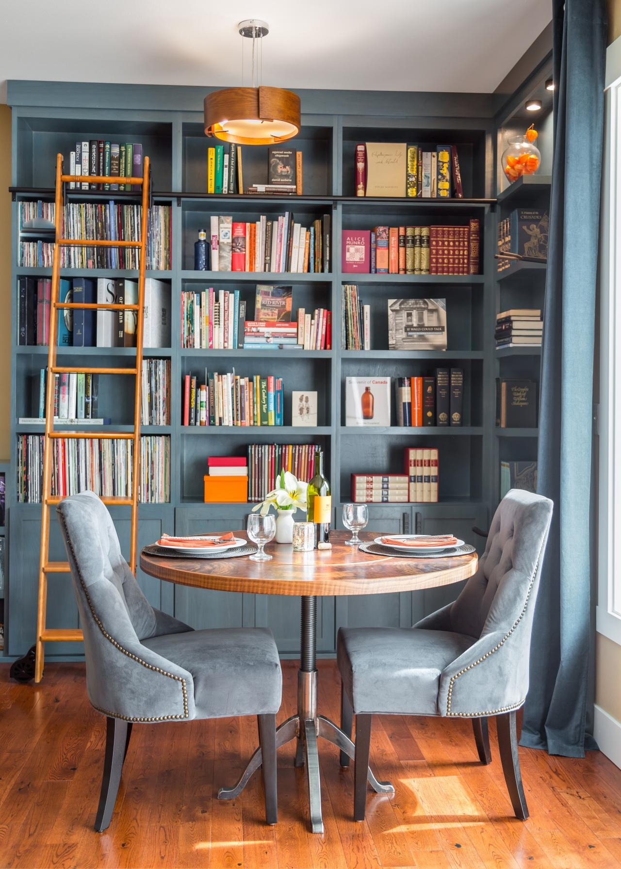 Beautiful Blue Home Library Nook Was Once A Disused Corner Hgtv Inside Corner Library Bookcase (View 13 of 15)