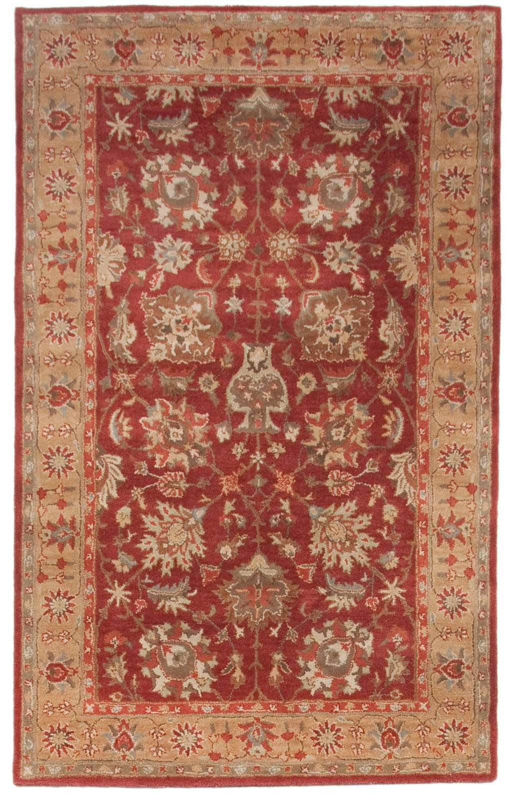 Beautiful Royal Hand Tufted Wool Area Rug 5×8 Red Beige Blue Yellow Throughout Wool Area Rugs 5× (#2 of 15)