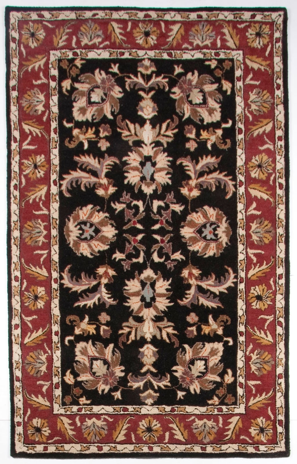 Beautiful Traditional Black Burgundy Gold 5×8 Hand Tufted Wool With Regard To Black Wool Area Rugs (#2 of 15)