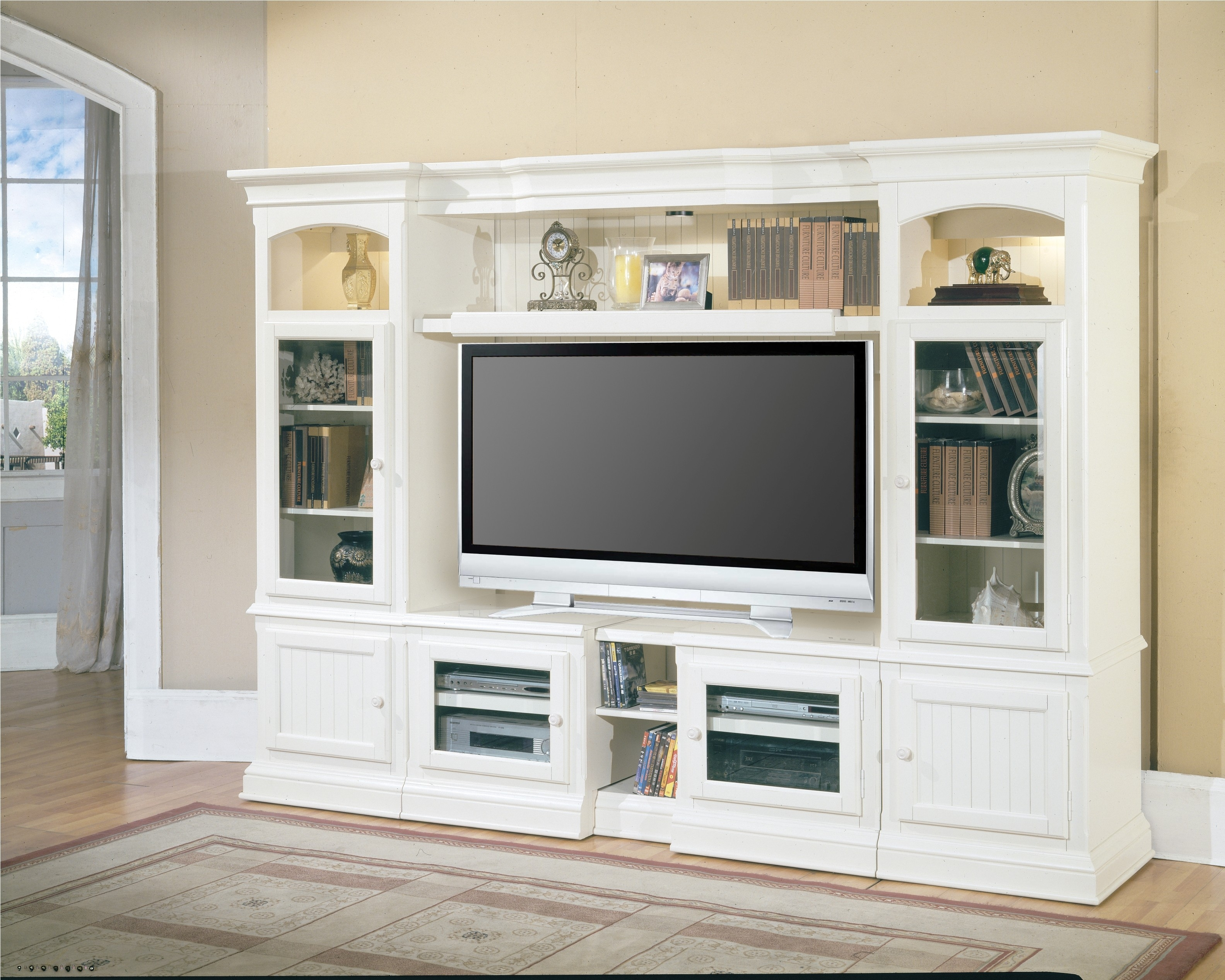 Beautiful White Black Wood Cool Design Living Room Wall Led Inside Bookcase With Tv Storage (#1 of 15)