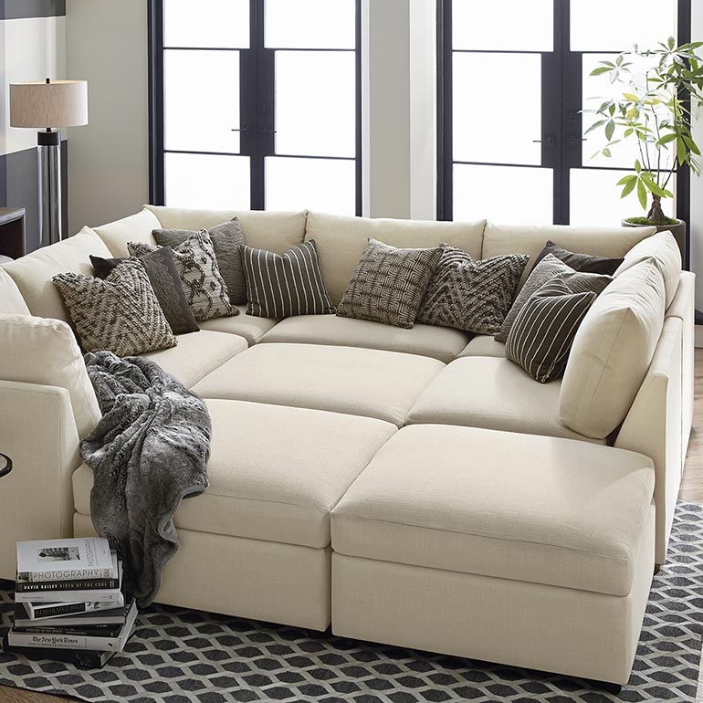 Beckham Upholstered Pit Sectional Living Room Bassett Furniture With Regard To Pit Sofas (#3 of 15)