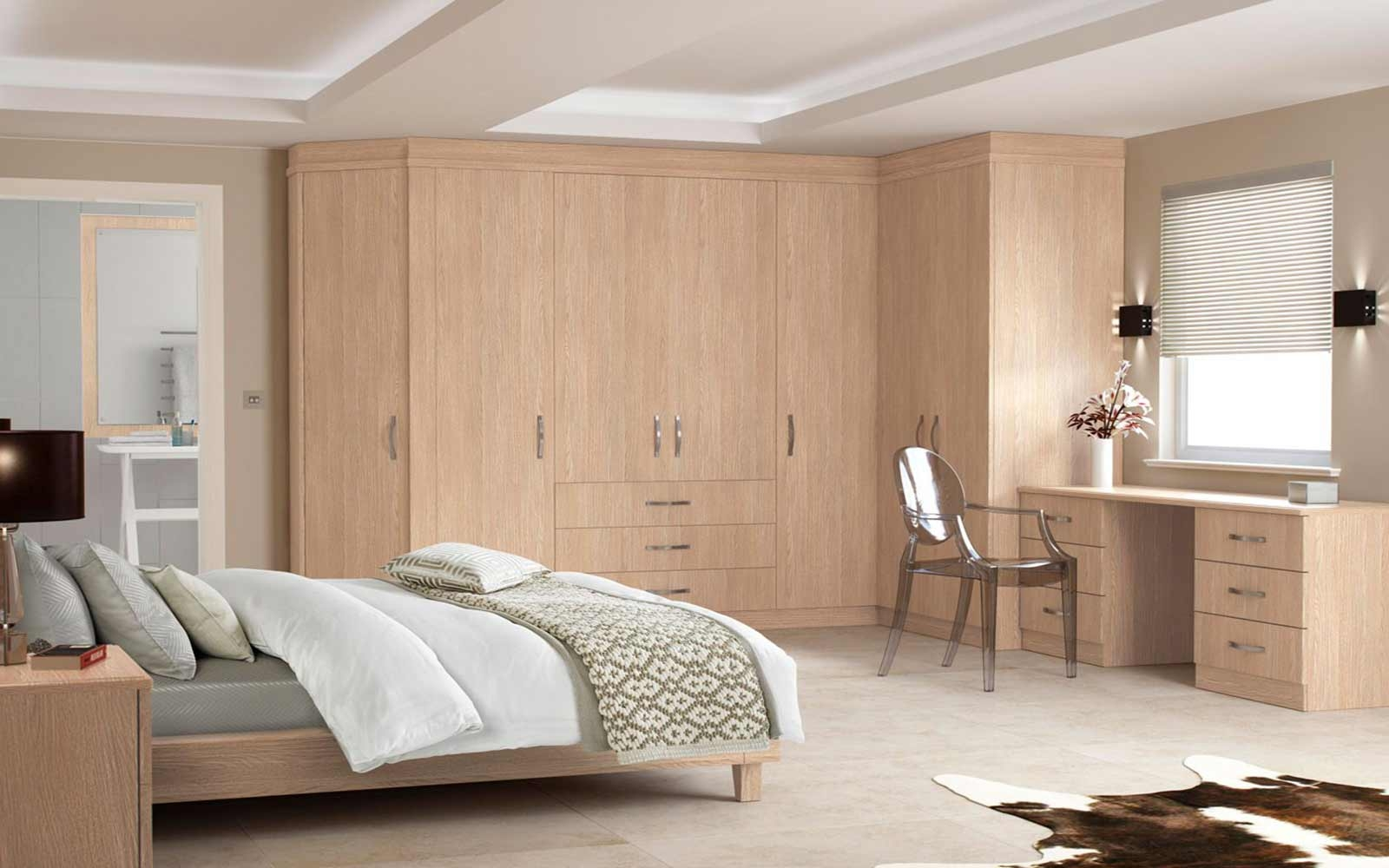 Bedroom Bespoke Built In Fitted Wardrobe Mirrored Dark Wood Throughout Solid Wood Fitted Wardrobes (View 15 of 15)