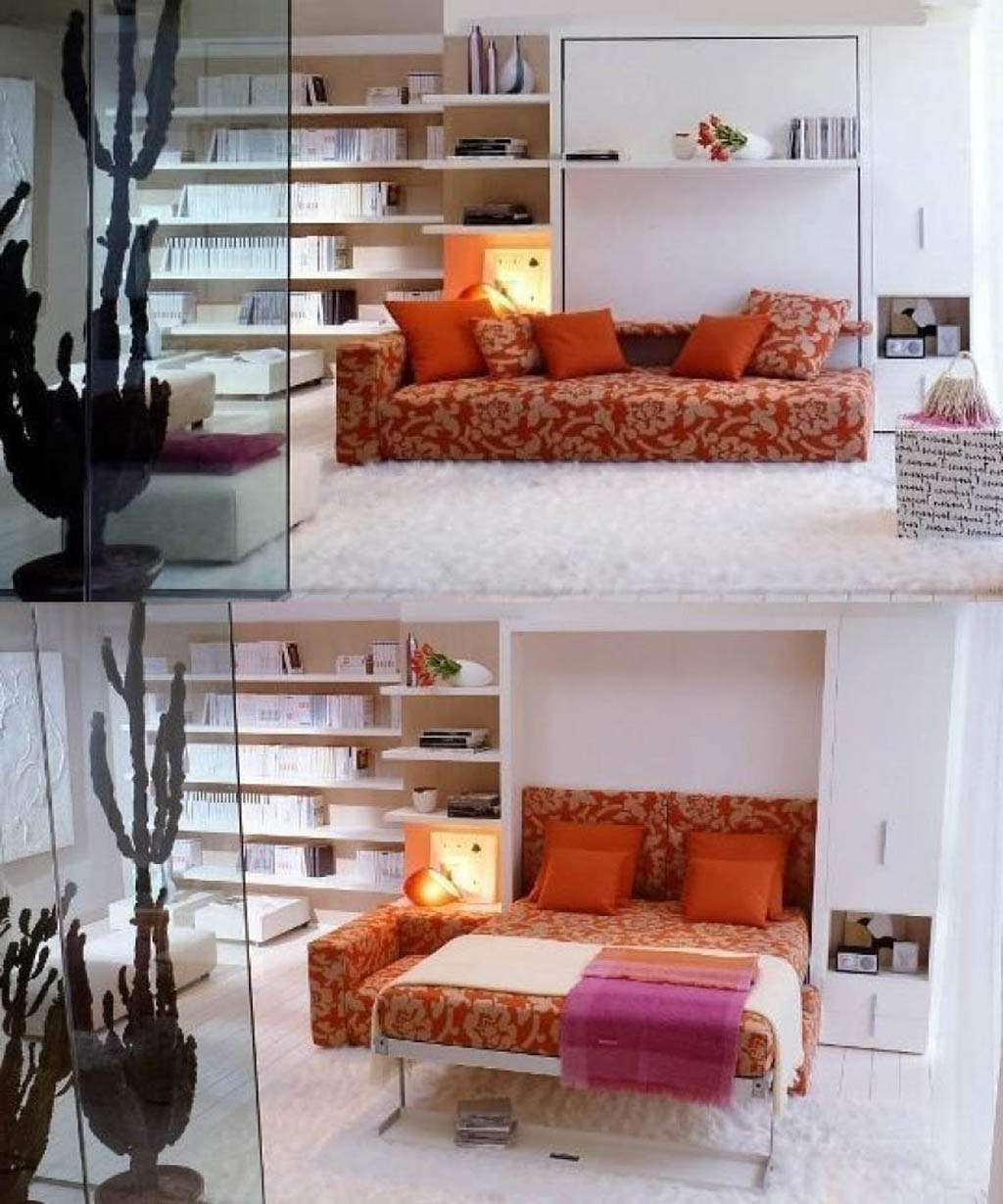 Bedroom Concealed Bed Design White Cabinet Bookcase Nightstand For Bookcase With Tv Space (View 1 of 15)