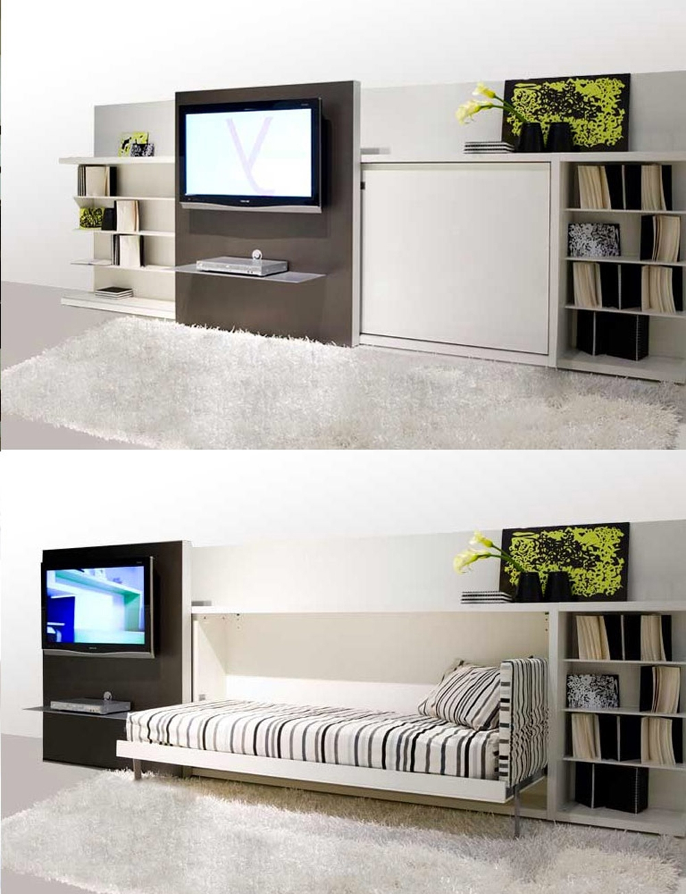 Bedroom Concealed Bed Design White Cabinet Bookcase Nightstand Inside Bookcase With Tv Space (#2 of 15)