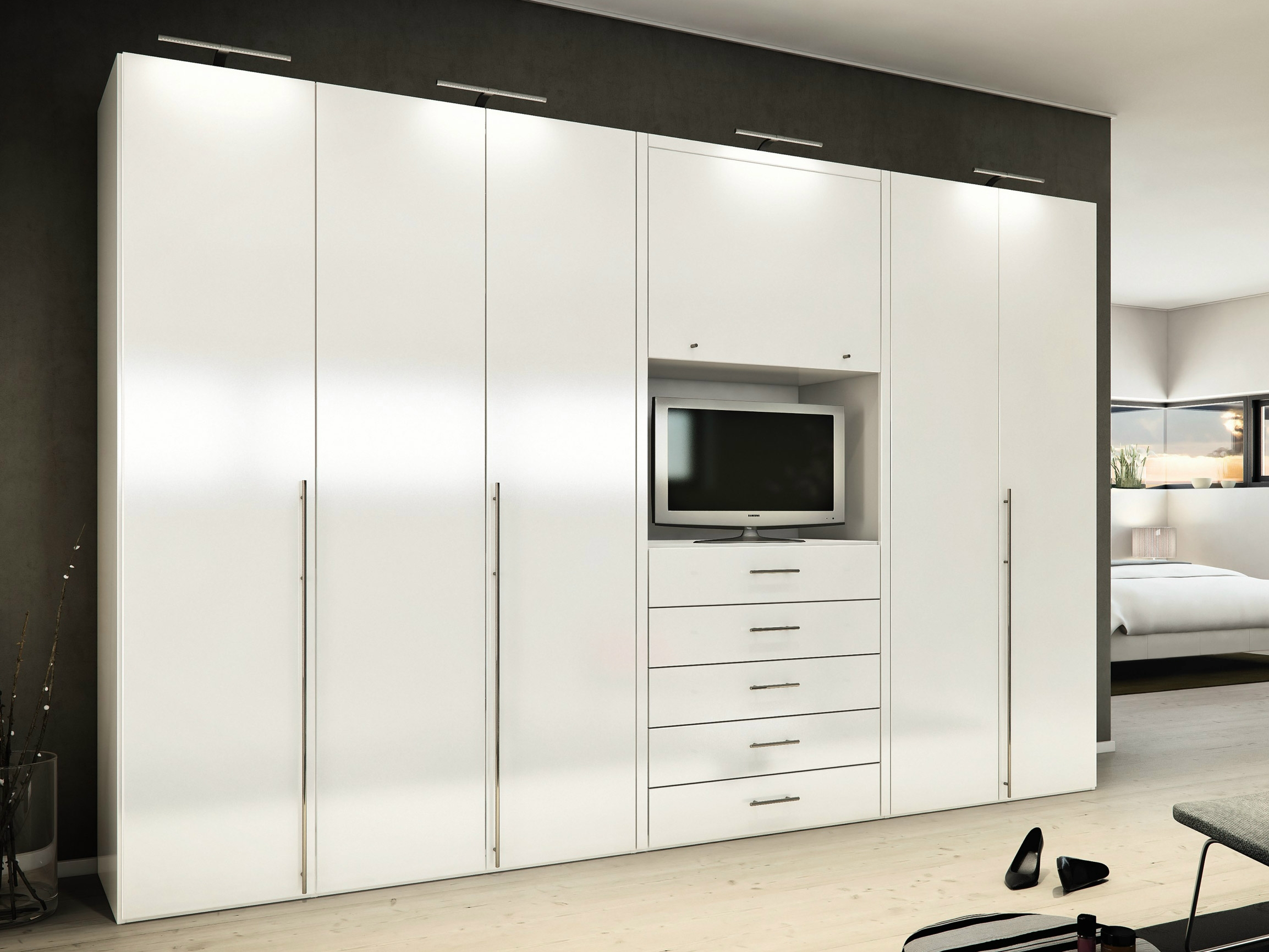 Bedroom Ideas Furniture Mesmerizing White High Gloss Built In Intended For Wardrobe With Drawers And Shelves (View 1 of 15)