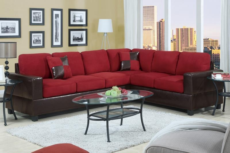 Bedroomdiscounters Sectional Sofa Sets Throughout Red Microfiber Sectional Sofas (#4 of 15)
