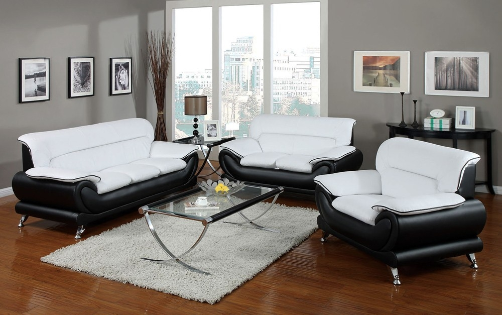 Bentley Modern Black And White Sofa Set With Black And White Sofas (#4 of 15)