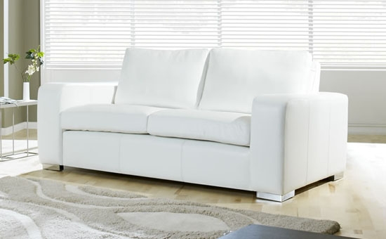 Bergamo White Sectional Leather Sofa Leather Sectional Sofas Intended For White Fabric Sofas (#3 of 15)