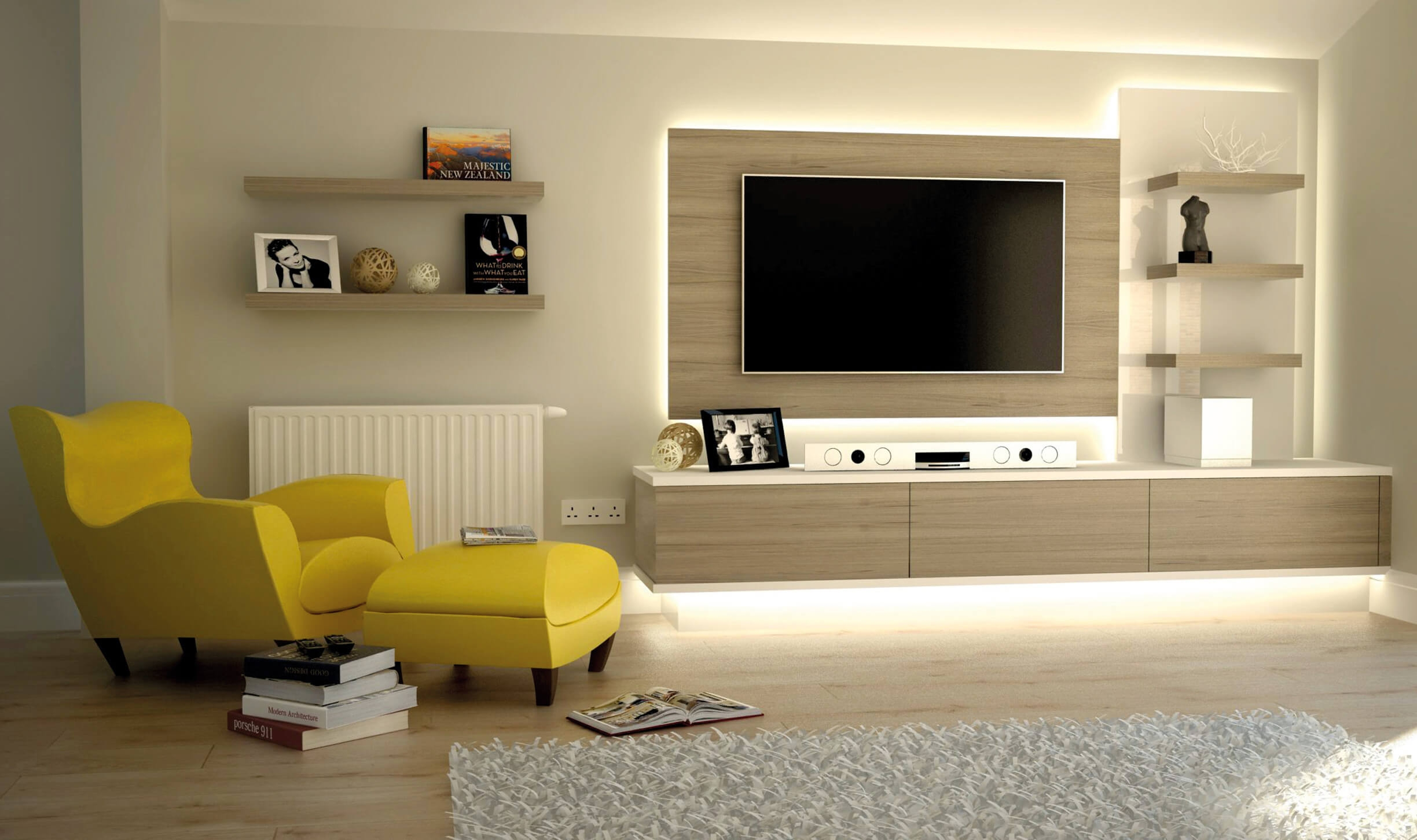 Popular Photo of Fitted Wall Units Living Room