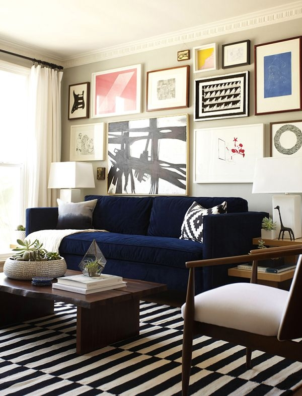 Popular Photo of Dark Blue Sofas