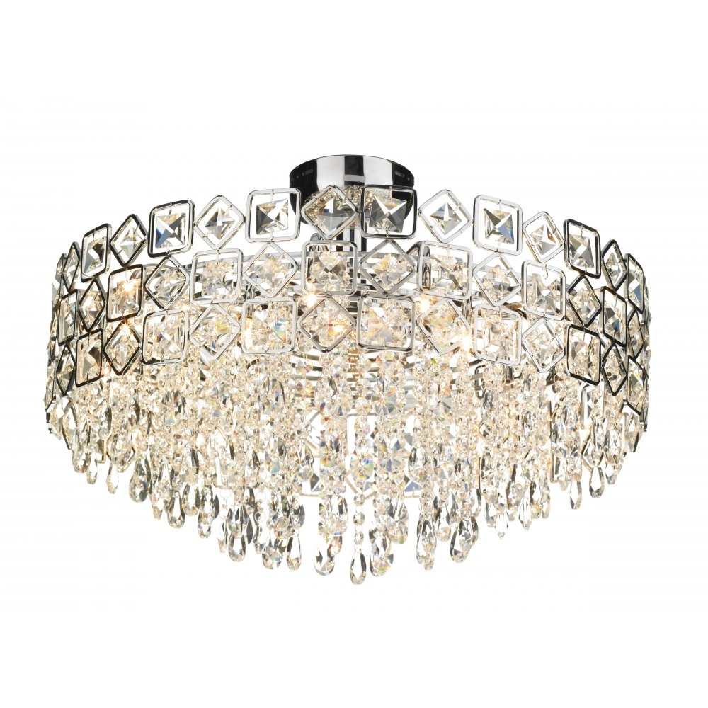 Best Crystal Ceiling Chandelier Ceiling Mount Crystal Chandelier With Regard To Flush Fitting Chandeliers (#2 of 12)