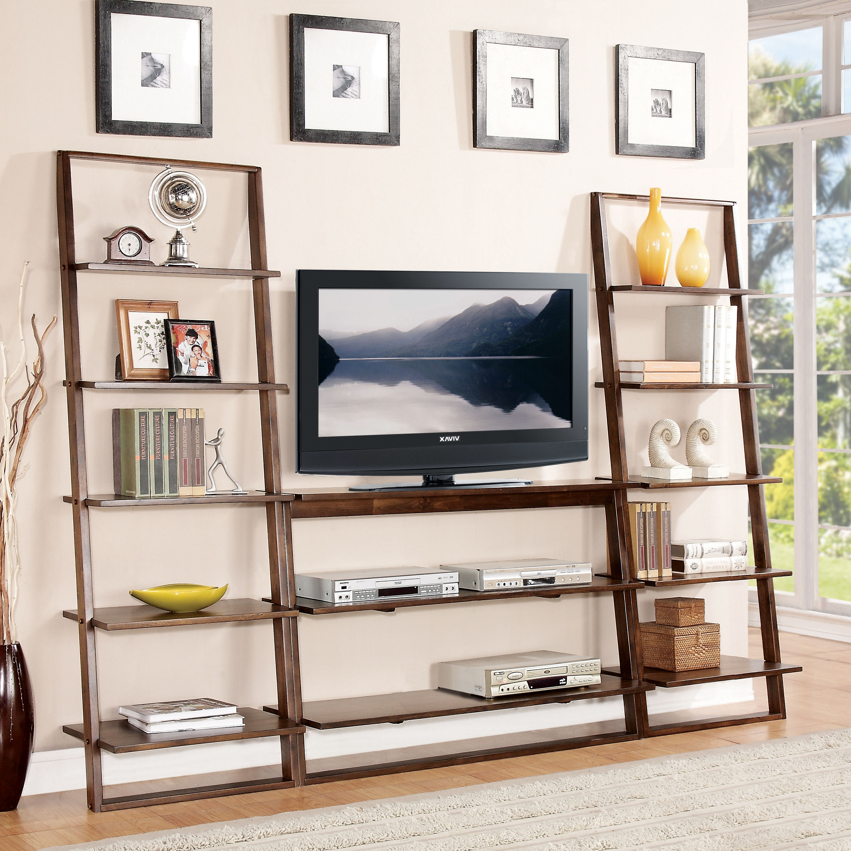 Best Ladder Shelves With Twin Ladder Bookcase Combined Oak Tv With Regard To Bookcase With Tv Storage (#4 of 15)