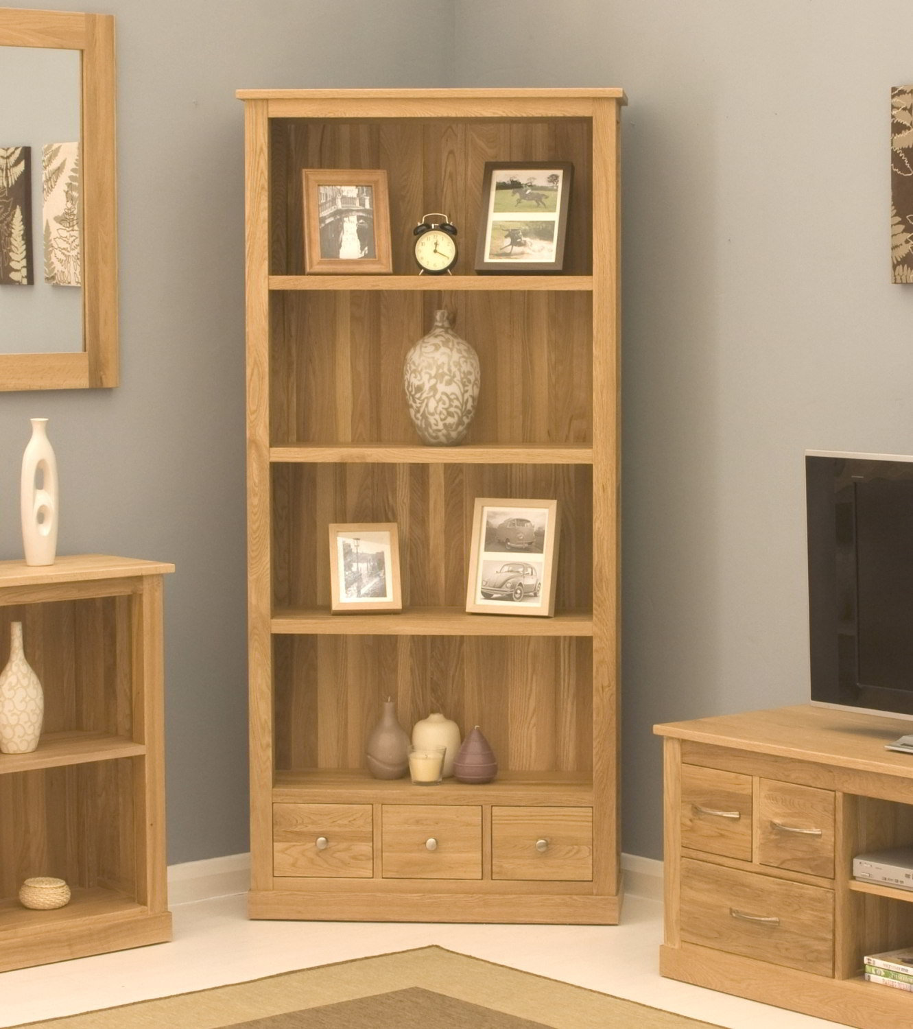 15 best collection of contemporary oak bookcase - Living room ideas with oak furniture ...
