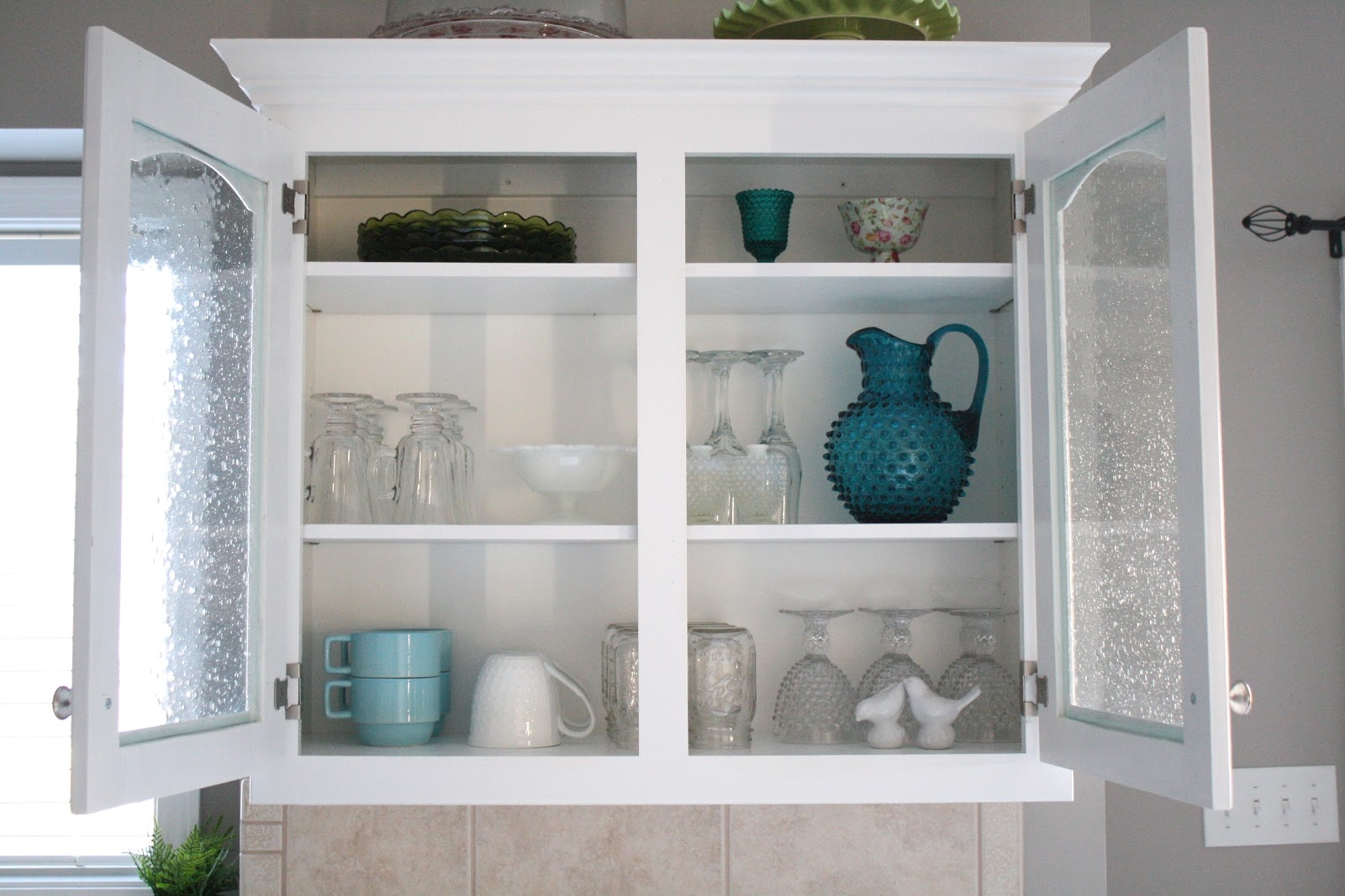 Beveled And Frosted Glass Kitchen Cabinets The Kitchen Inspiration Throughout Glass Kitchen Shelves (#2 of 12)