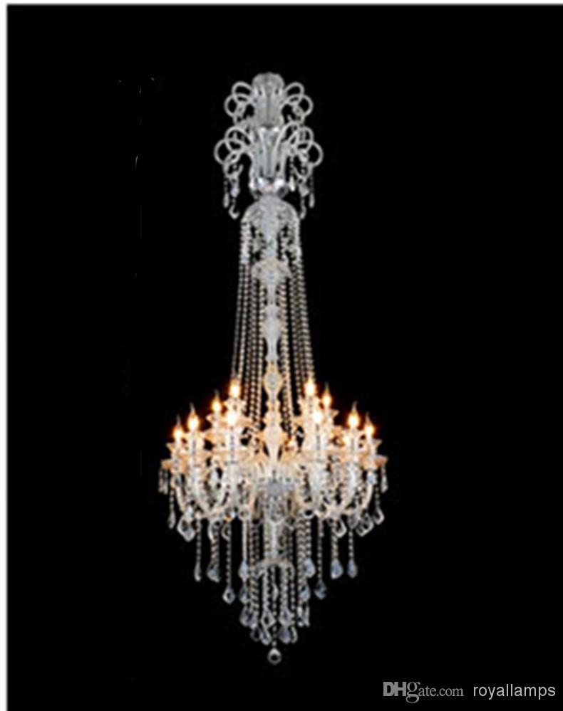 Big Crystal Chandelier Hanging Lights Led Lamps 15 Glass Arms H2 In Big Crystal Chandelier (#2 of 12)