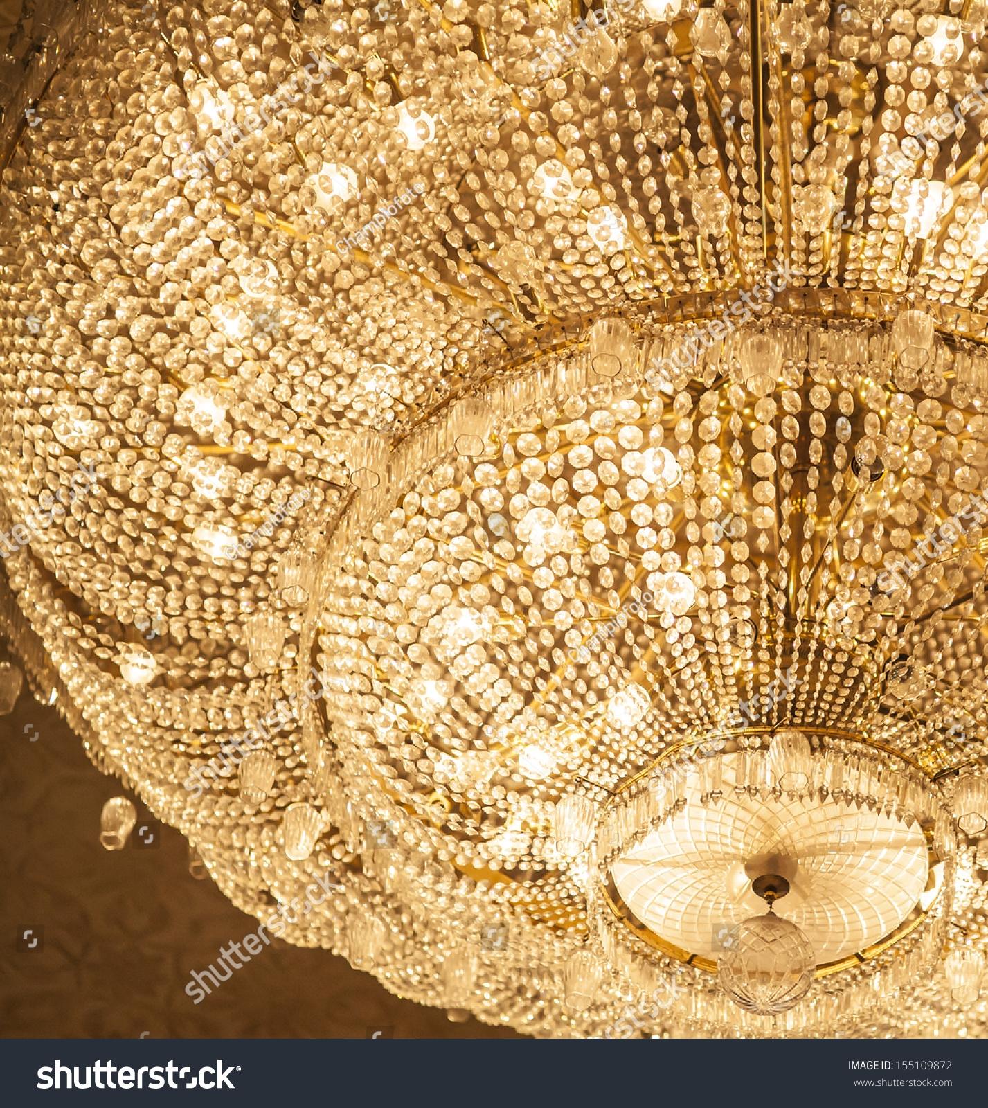 Big Crystal Chandelier Stock Photo 155109872 Shutterstock Throughout Big Crystal Chandelier (#3 of 12)