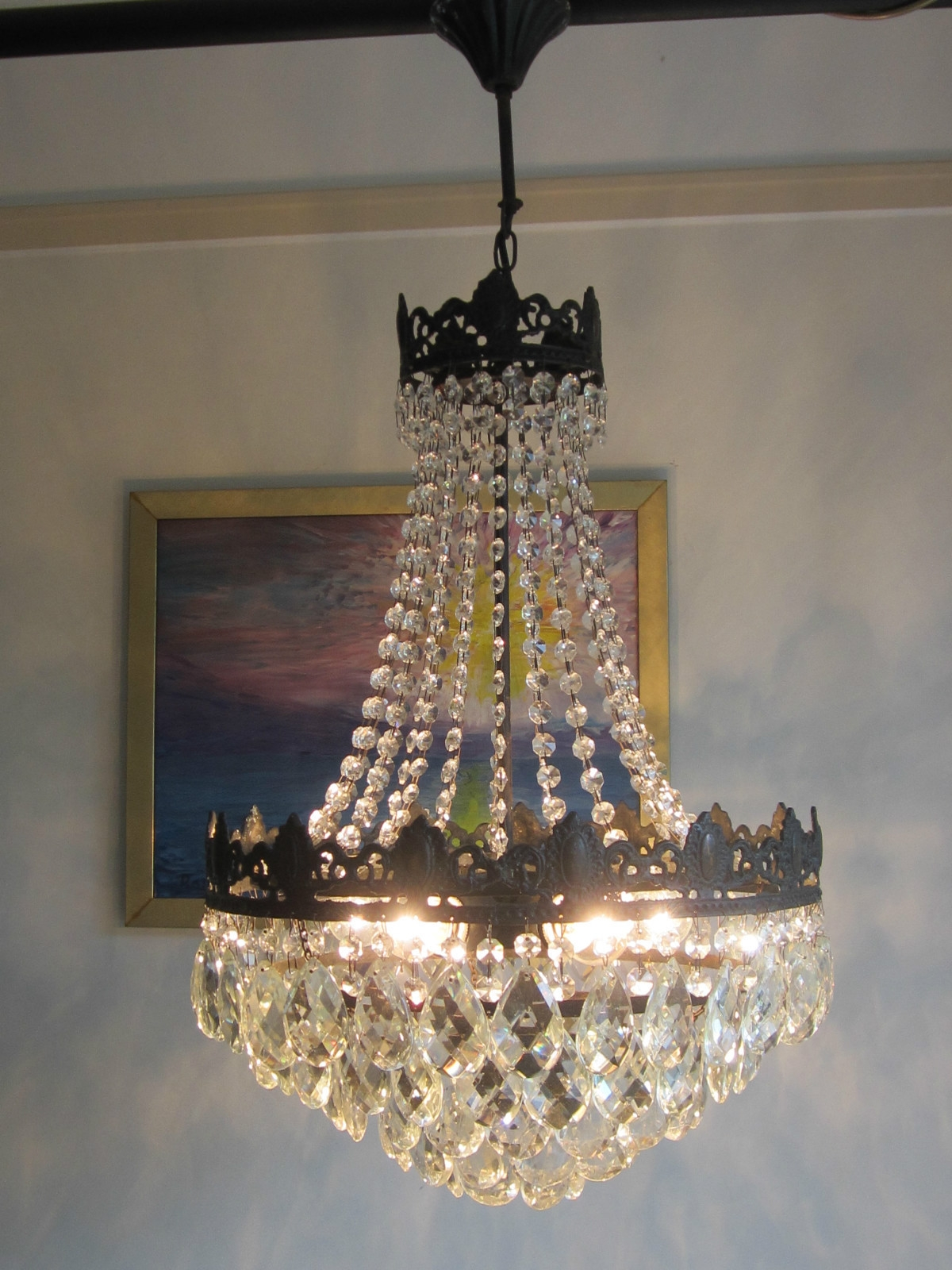 Big Sale Antique French Vintage Bronze Lead Crystal Chandelier Throughout Lead Crystal Chandelier (#4 of 12)
