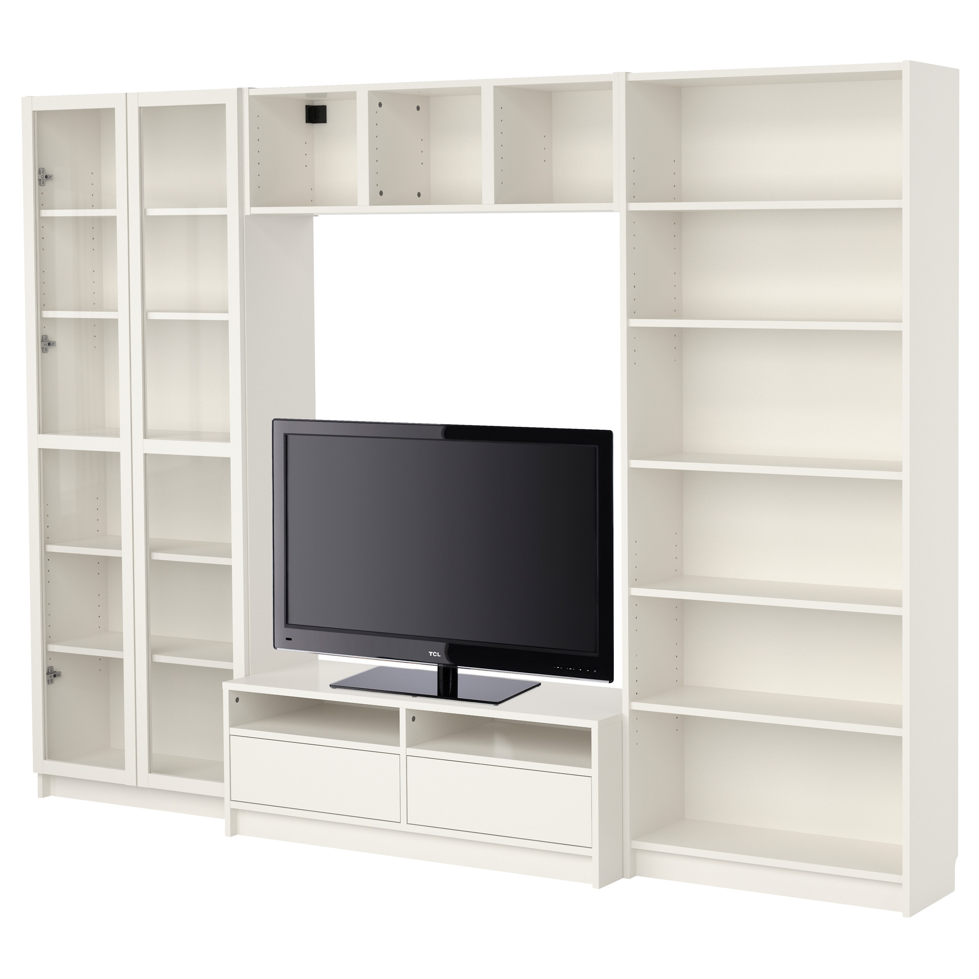 Billy Bookcase Combination With Tv Bench White Ikea 536 For Throughout Bookshelf Drawer Combination (#2 of 15)