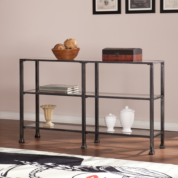 Black And Glass Sofa Table Video And Photos Madlonsbigbear In Metal Glass Sofa Tables (#7 of 15)