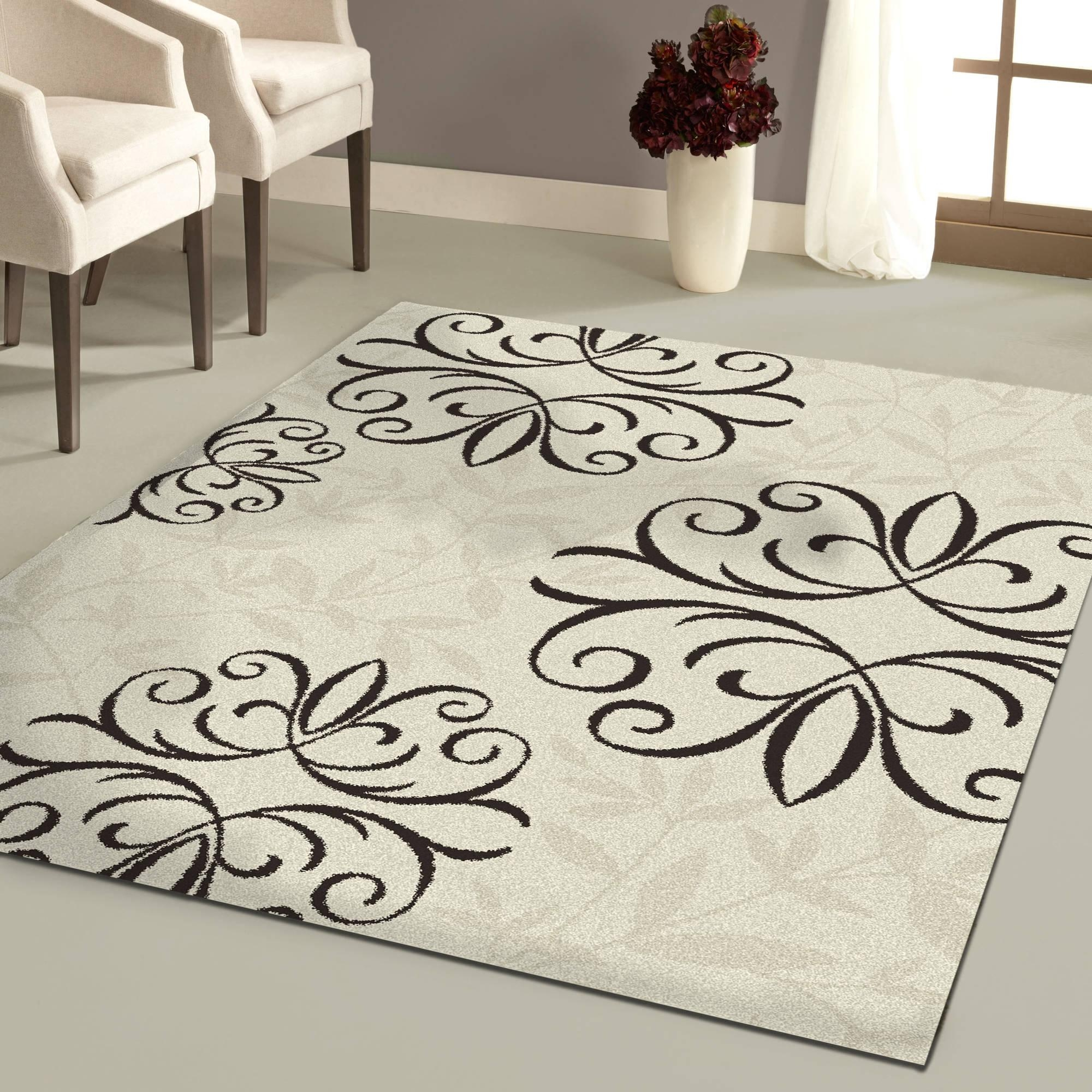 Black And White Area Rugs Stenciled Brazilian Cowhide Cheetah Pertaining To Black Wool Area Rugs (#3 of 15)