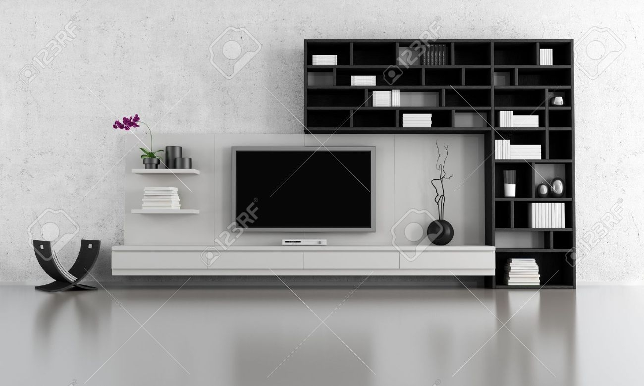 Black And White Living Room With Tv Stand And Bookcase Rendering In Bookcase Tv Stand (#4 of 15)