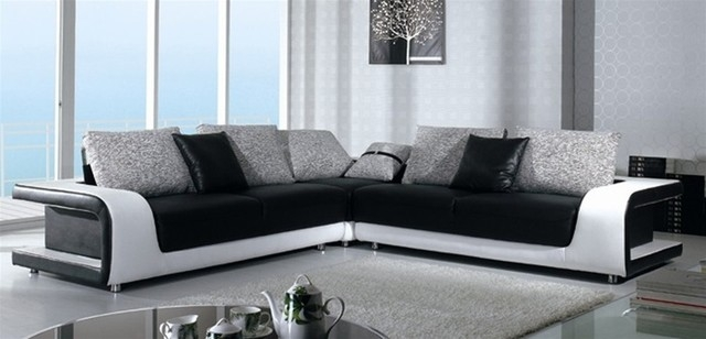 Black And White Sectional Sofa In Top Grain Leather Modern Within Black And White Sofas (#6 of 15)