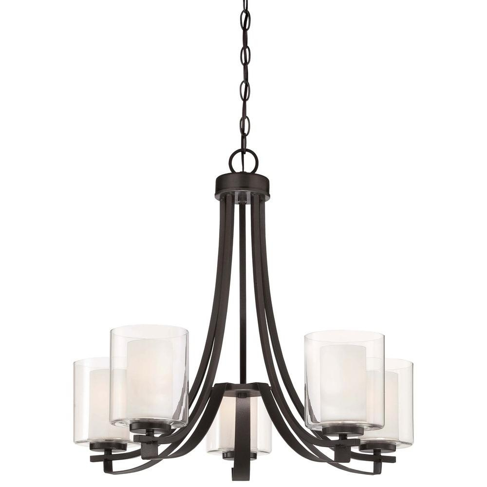 Black Chandeliers Hanging Lights The Home Depot Intended For Iron Chandelier (#2 of 12)