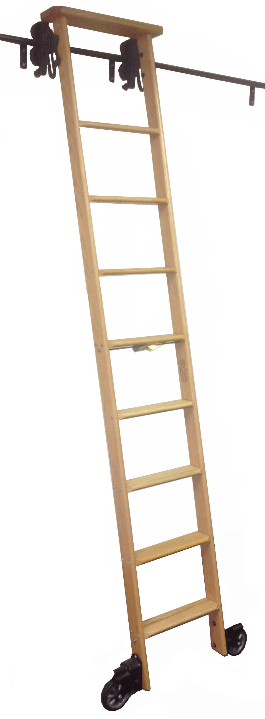 Black Finish Rolling Library Ladder Kits Inside Library Ladder Kit (View 2 of 15)