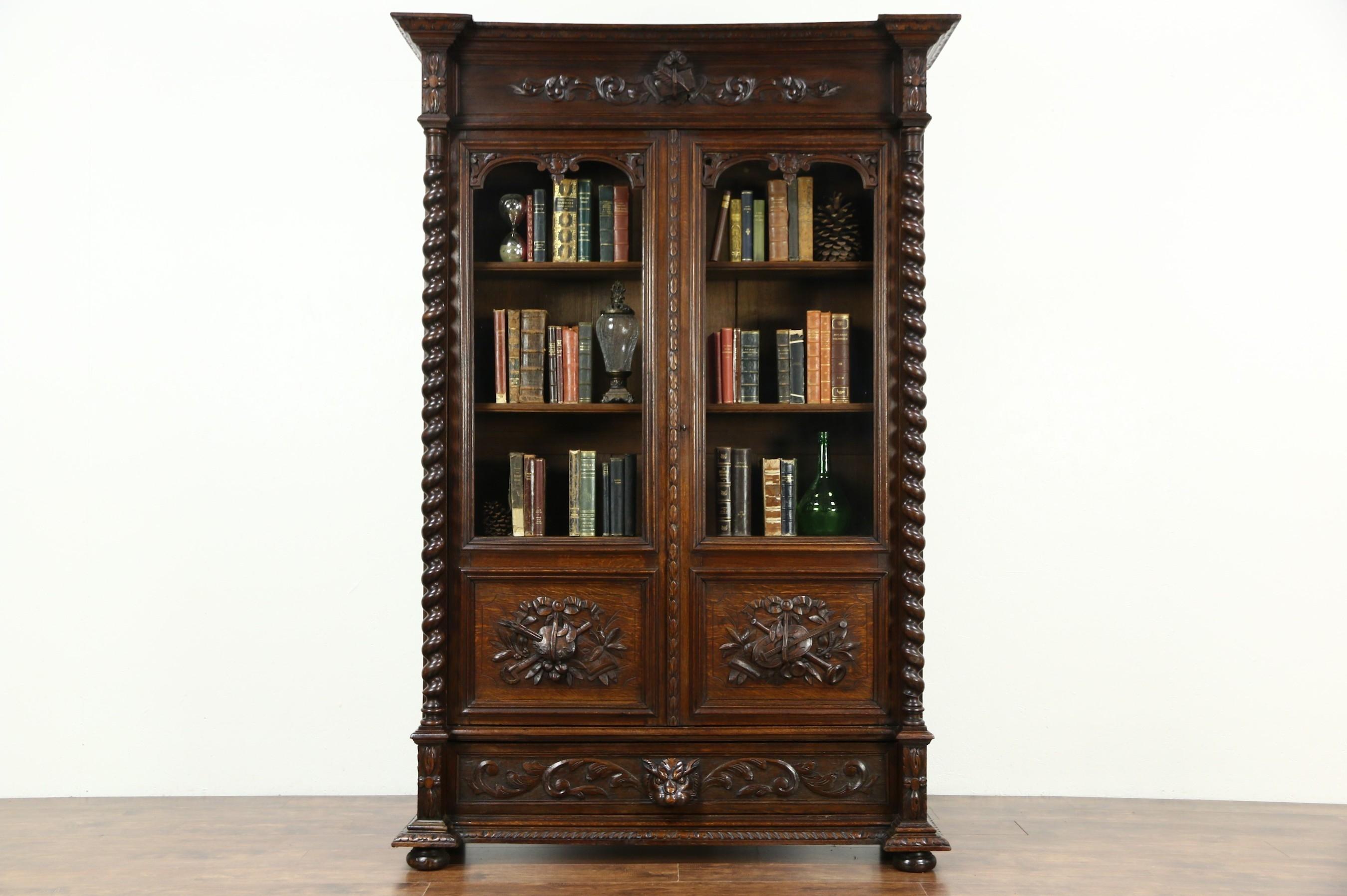 Black Forest Antique 1890 Oak Library Bookcase Carved Art Music Within Oak Library Bookcase (#4 of 15)