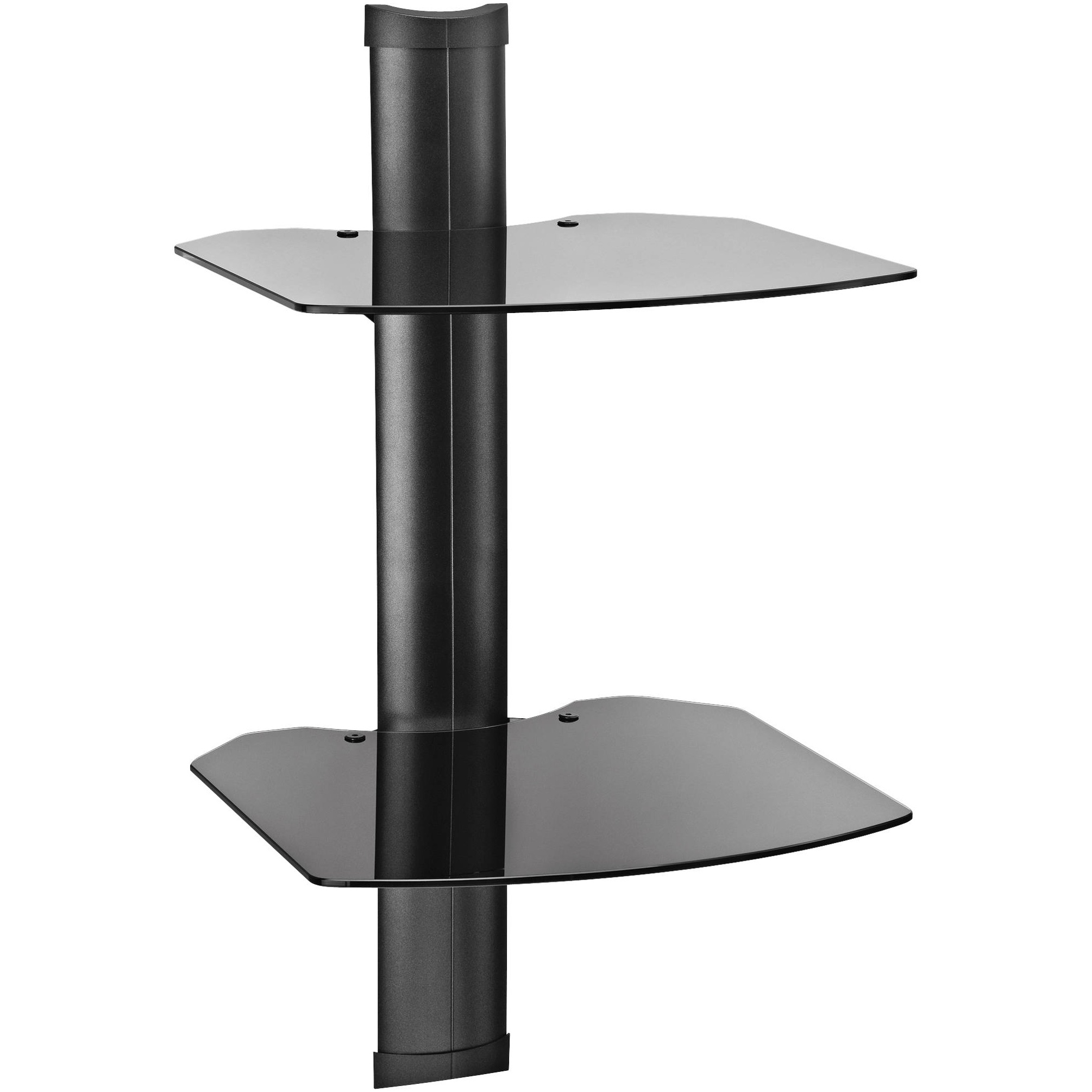 Black Glass Corner Wall Shelf Omnimount Double Glass Wall Shelf With Wall Mounted Black Glass Shelves (#3 of 15)