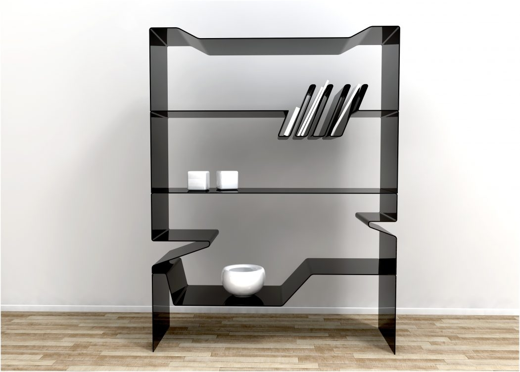 Black Glass Wall Shelf Floating Corner Shelves Floating Bookcase Intended For Large Glass Corner Shelves (View 4 of 12)