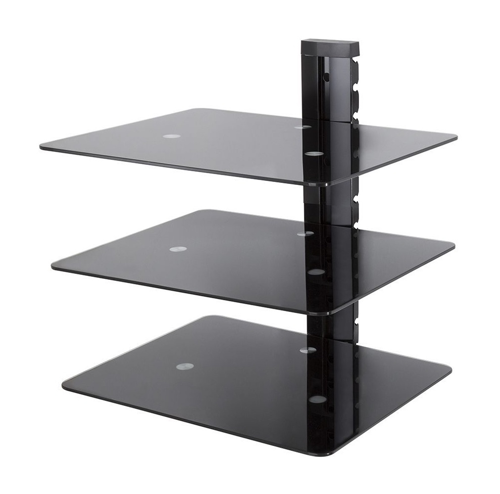 Black Glass Wall Shelves Uk Contemporary Free Standing Wall Pertaining To Free Standing Glass Shelves (#4 of 12)