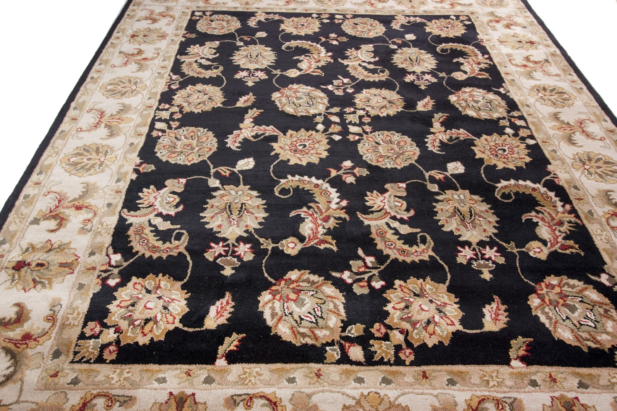 Black Hand Tufted Traditional Wool Area Rug Carpet With Regard To Black Wool Area Rugs (#6 of 15)