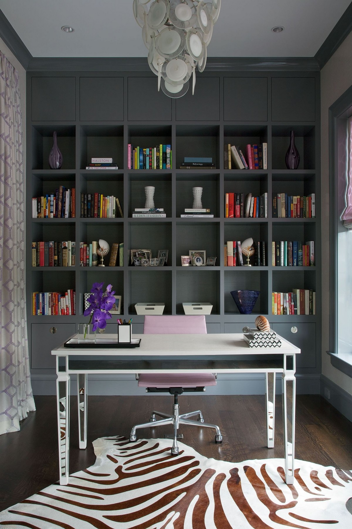 Black Ikea Billy Bookcase In Home Office With Gray Walls And For Freestanding Bookcase Wall (View 6 of 15)