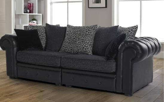 Black Leather And Fabric Sofa 3 Seater London Buy Online Regarding Leather And Material Sofas (#2 of 15)